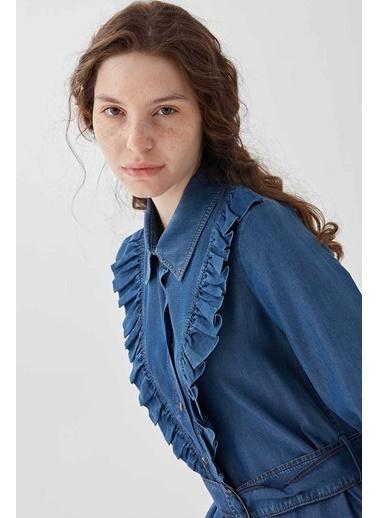 Vivencia Fırfır Detaylı Kadın Tensel Tunik Buz Mavisi Lacivert